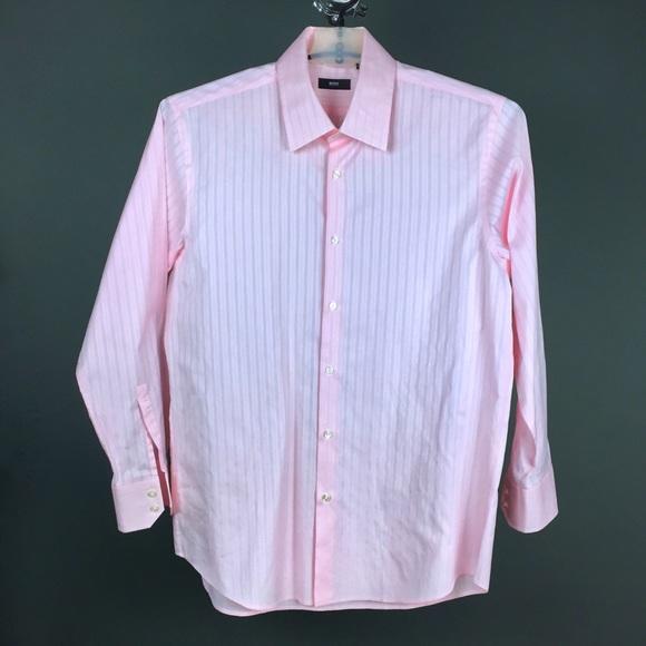 7877aaa6b Hugo Boss Shirts | Pink Striped Jaquard Mens Shirteuc | Poshmark